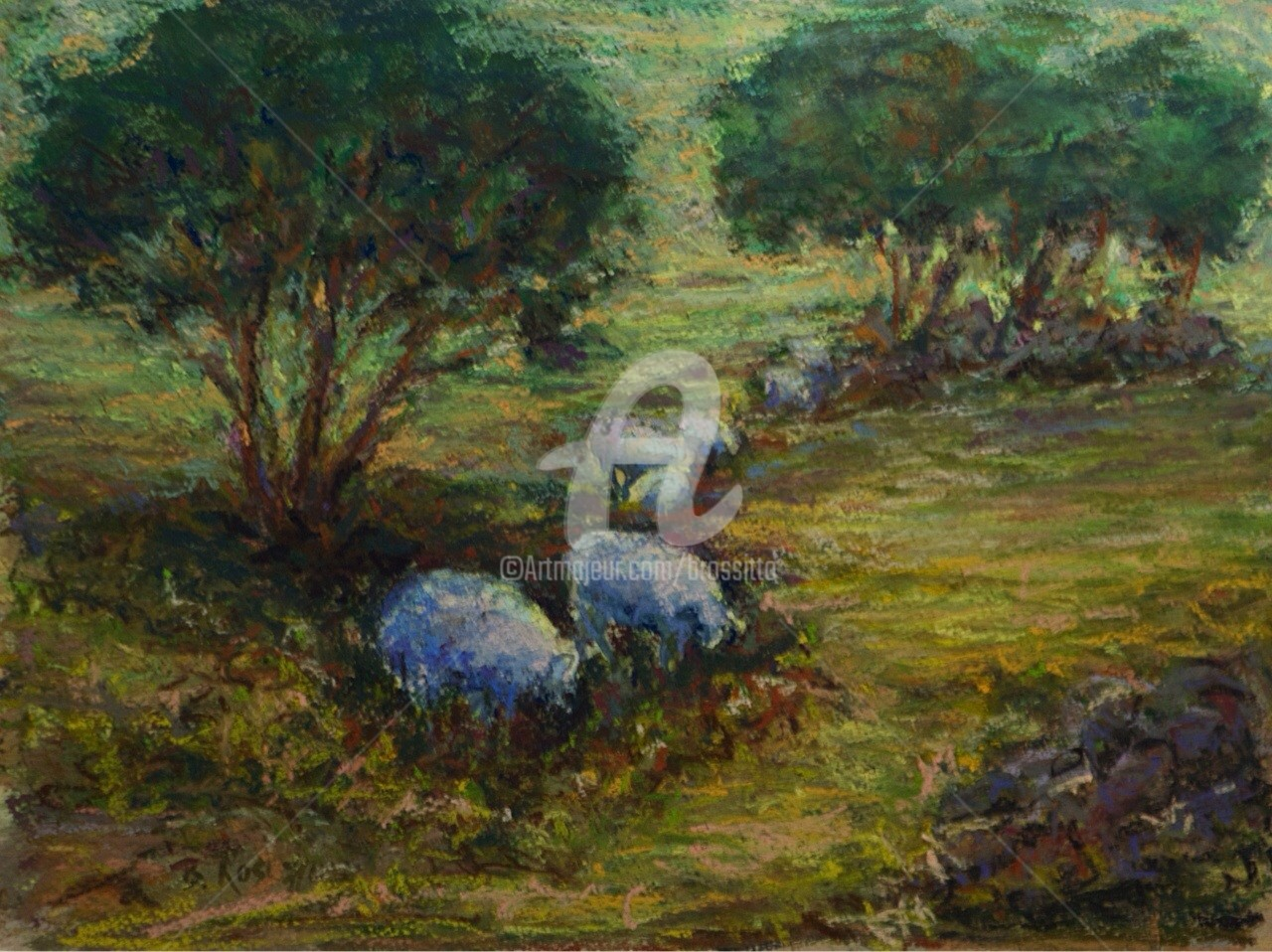 B.Rossitto - Pastoral Landscape with Sheep pastel over watercolor.