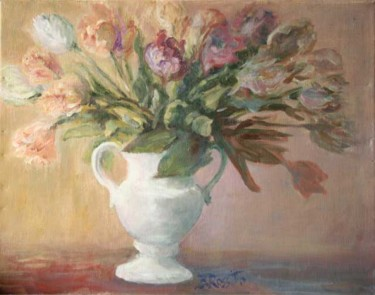 Tulips in a White Urn