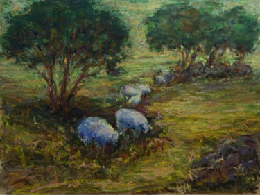 Pastoral Landscape with Sheep pastel over watercolor.