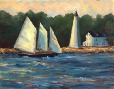 schooner and lighthouse